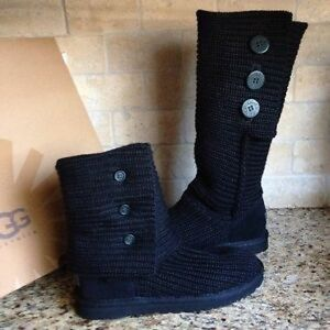 UGG classic cardy black knit boots